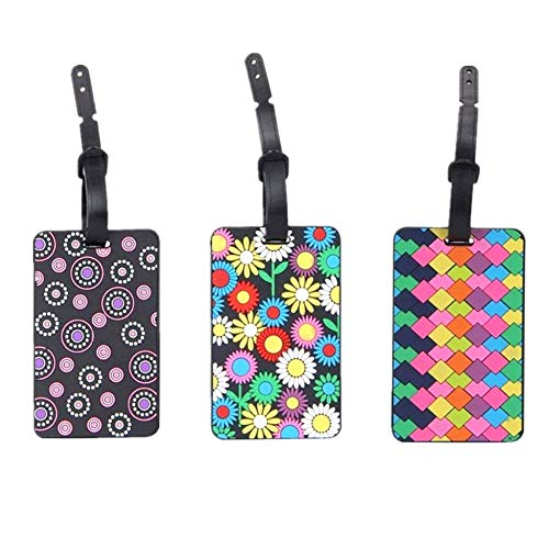SwirlColor Set di 3 sicuro Etichette per Valigie PVC Etichetta Valigie per Porta biglietti da visita / viaggio ID Bag Tag