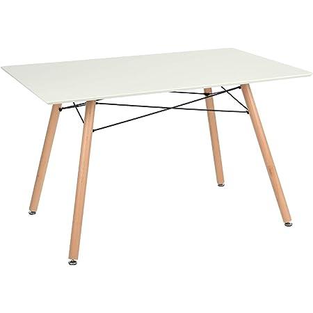 Furniture-R France Maddie Table à manger rectangulaire, pour 2à 4personnes, design scandinave, pieds en bois de hêtre massif laqué, , 110x70x74cm