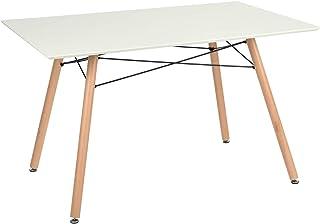Furniture-R France Maddie Table à manger rectangulaire, pour 2à 4personnes, design scandinave, pieds en bois de hêtre ma...