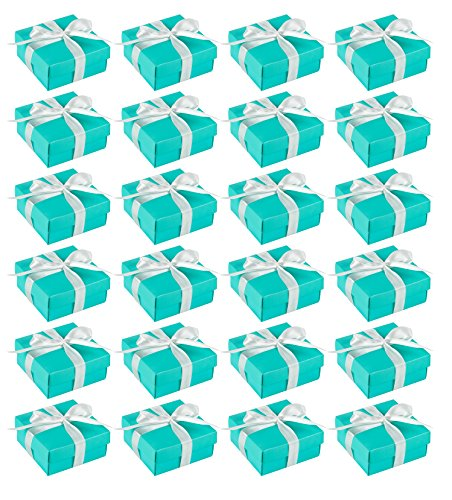 Wedding Gift Boxes - 24 Pack Candy Favor Boxes, DIY Assembly Small Treat Boxes, Perfect for Guest Favors, Anniversary, Proposal and Engagement Party, Turquoise, 3.7 x 3.7 x 1.6 Inches
