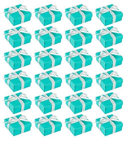 Blau Panda Hochzeit Geschenk-Boxen–24er Pack Candy Favor Boxen, Kleines Geschenk-Box Perfekt für Hochzeitsgastgeschenke, Jubiläen und Engagement Parteien–Türkis, 9,5x 9,5x 4,2cm