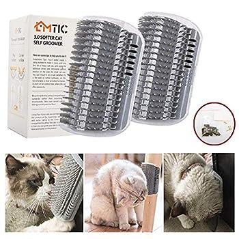 Brosse de toilettage pour chat avec herbe à chat - Outil de massage parfait pour les chats à poils longs et courts - Gris (2 pièces)