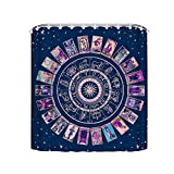 Noick Pastel Goth Zodiac Astrology Chart & The Major Arcana Tarot Boutique Shower Curtain Hooks Polyester Home Decor 72x72Inch