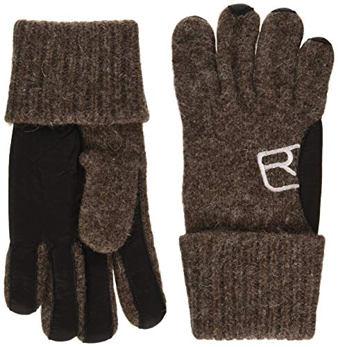 ORTOVOX Unisex-Adult Swisswool Classic Leather Glove Liners, Black Sheep, L