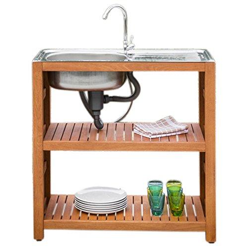 gartenmoebel-einkauf Gartenspüle Holz mit Edelstahlbecken, 90x46x91cm, voll funktionsfähig
