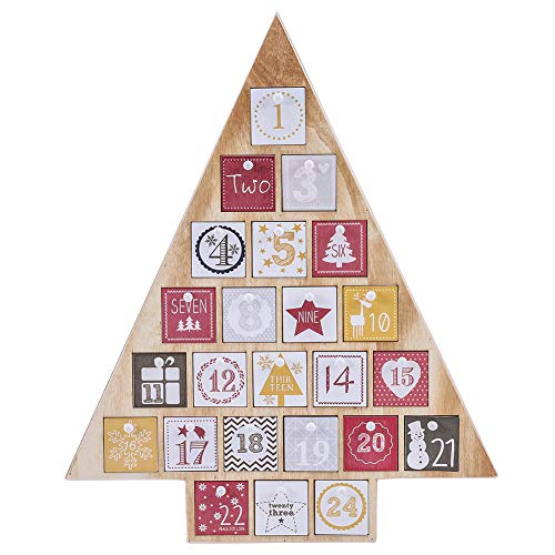 Juegoal Countdown to Christmas Calendar 2019 Nature Wooden Tree Shape Advent Calendar with 24 Storage Drawers, for Kids, 15