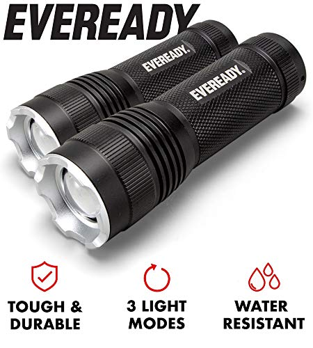 EVEREADY LED Tactical Flashlight, IPX4 Water Resistant EDC Flashlight, Super Bright High Lumens, Zoomable, 3 Light Modes, Heavy Duty Metal Body, Lanyard Included