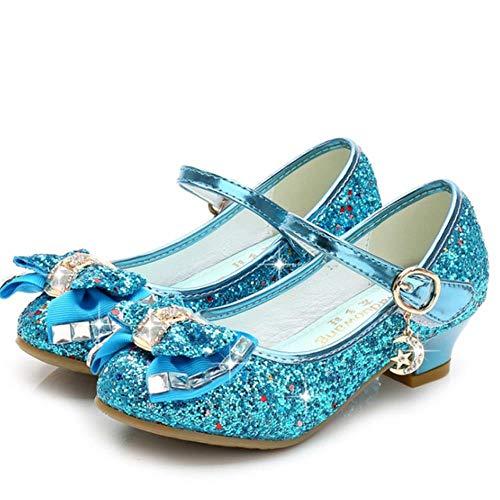 Zapatos de princesa para niñas sandalias de tacón alto con purpurina brillante y diamantes de imitación para bebés de fiesta femenina, azul, 26