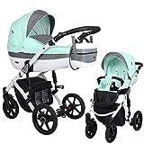 KUNERT Kinderwagen LAVADO Sportwagen Babywagen Autositz Babyschale Komplettset Kinder Wagen Set 2 in 1 (Minze mit Pünktchen, Rahmenfarbe: Weiß, 2in1)