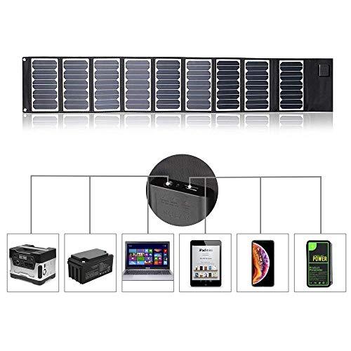 Kingsolar Panel solar plegable portátil 60W Panel solar cargador de batería para camping con 2 puertos (DC + USB) para tableta, teléfono, portátil, batería al aire libre