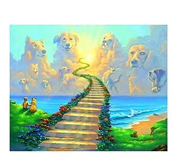 DIY 5D Diamond Painting Cross-Stitch Kits Cartoon Bridge Rainbow Round Diamond Embroidery Mosaic Home Decoration Gift-30X40cm