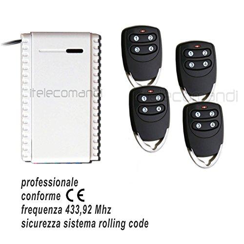 Juego receptor + 4 mandos rolling code 433,92 MHz receptor 1 canal NO-C-NC universal 12-24 V + radiomando 3 canales