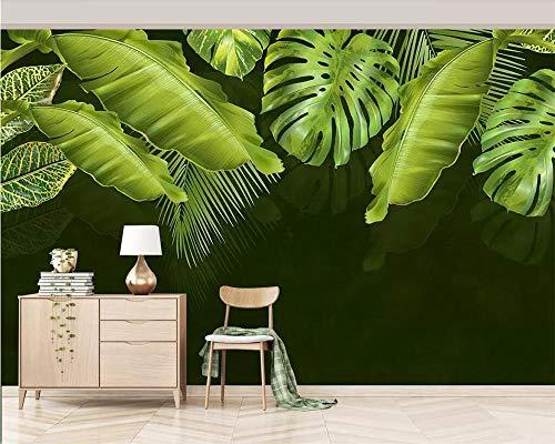 HDDNZH muurschildering, op maat 3D groot muurbehang Scandinavisch donkergroen verse planten serie TV-bank achtergrond muur woonkamer slaapkamer huisdecoratie 320cm(H)×600cm(W)