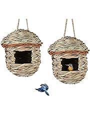 OYISIYI Hummingbird House Set of 2 Hand Woven Hummingbird Houses Nest, Bird Houses for Outdoor Tree Decorations Gardening Gift