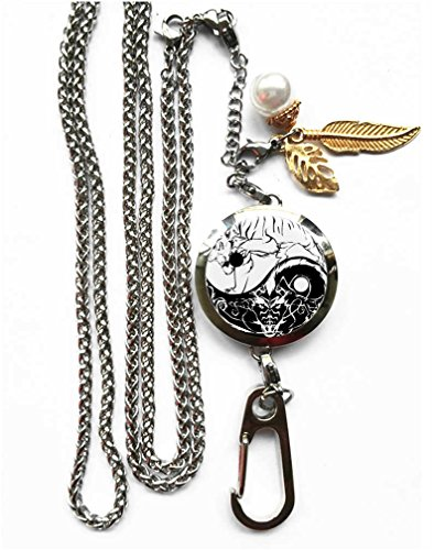 RhyNSky Yin Yang Pattern Aromatherapy Essential Oil Diffuser Locket Pendant ID Badge Holder Lanyard Necklace Bracelet Keychain with Chain and Pads C1170