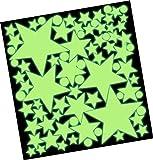 50 Leuchtende Sterne Set XXL - Wandtattoo Leuchtsterne Fluoreszierend, Wandsticker Nachtleuchtend -...