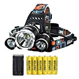 Best 18650 Batteries - LED Rechargeable 8000 Lumens 18650 Headlamp Flashlight,Kit Review