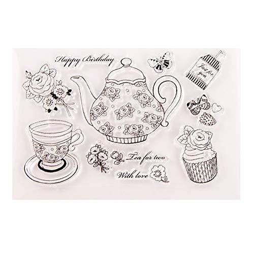 Ponnen Weihnachten Silikon Clear Stempel Teekanne Kuchen Cup Schablonen Weihnachten Album Foto Sammelalbum Präge Scrapbooking Dekor Geschenk