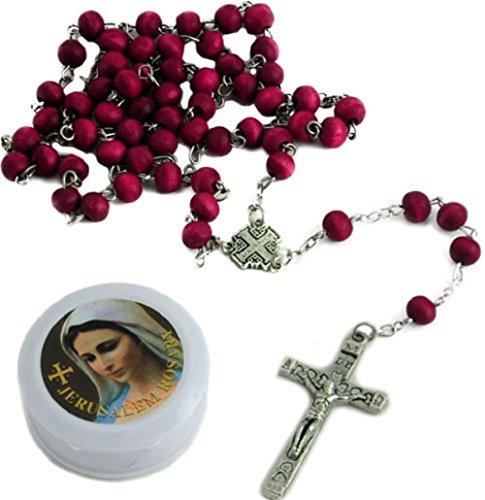 Bethlehem Gifts TM - Lote de 12 rosarios de madera perfumados con rosas de Tierra Santa
