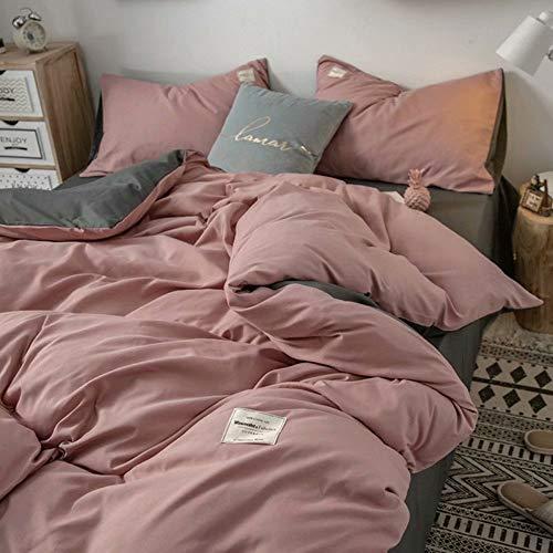 Angel Dress Shop Soild Color Duvet Cover Comforter Sets Pink 3 Piece Full/Queen Size Bedding Sets with Zipper Closure, Microfiber Quilt Cover, Soft, Comfortable,Breathable