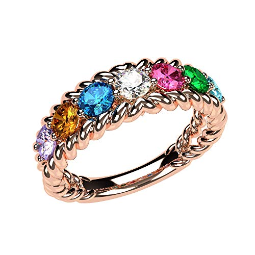 NANA Rope Mothers Ring 1 to 10 Simulated Birthstones - Sterling Silver -Rose Plated-Size 7