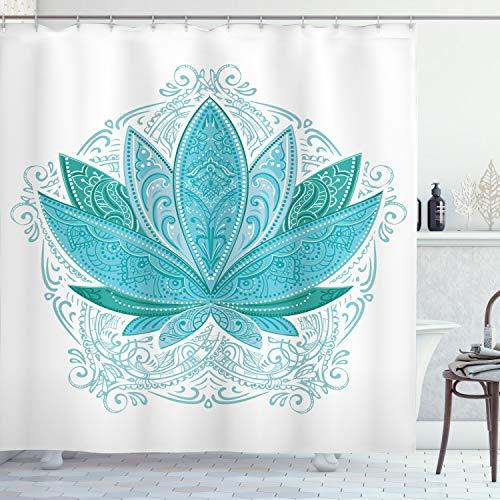 ABAKUHAUS Blatt Duschvorhang, Ethnisches Mehndi Lotus Zen, mit 12 Ringe Set Wasserdicht Stielvoll Modern Farbfest & Schimmel Resistent, 175x200 cm, Himmelblau Teal