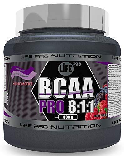 Life Pro BCAA Pro 8:1:1 Ajinomoto 300 gramos | Suplemento con Aminoácidos de Cadena Ramificada, Leucina, Valina e Isoleucina, Sabor Fruit Punch