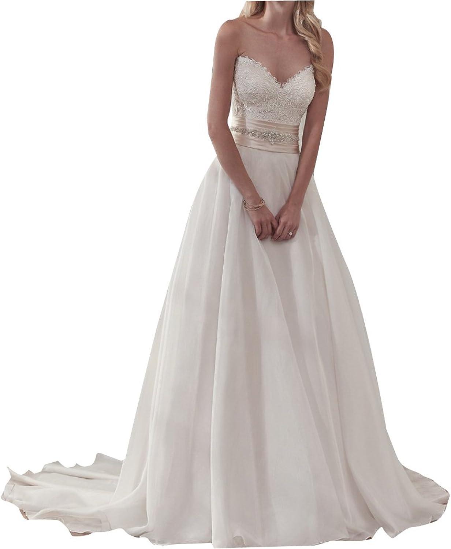 LISA.MOON Women's Sweetheart A Line Lace Applique Lace Up Back Wedding Dress