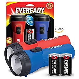 EVEREADY LED Flashlight Multi-Pack, Bright and Durable, Super Long Battery Life, Use for Emergencies, Camping, Outdoor, Batteries Included 5 <p>✅ : LED bulb produces bright white light for a variety of tasks around the house. Perfect for camping accessories, hurricane supplies, and survival kits. Safe flashlights for kids! ✅ : the ribbed casing gives you a secure, easy grip. Easy-to-operate, no-hassle switch. This flash light is built to be durable and easy for adults and kids to use. ✅ : These flashlights come with 2, Eveready D batteries - so you have power and light when you need it! ✅ : lifetime LED bulb never needs to be replaced! It is up to 15x brighter than standard flashlight bulb technology. ✅ : 60 hours of run-time, so you have light when you need it! The perfect flashlight to have in emergencies, storms, etc. Take these flashlights camping, hunting, fishing, outdoors, or indoors. Ideal for power outages. ✅ : the perfect holiday stocking stuffer and a great gift for outdoor-lovers, or great flashlights for kids! Use for camping, fishing, walking the dog, hiking, hunting, and much more.</p>