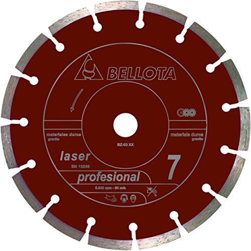 Bellota 50704-230 Disco Diamante Corte SECO Materiales Duros SEGMENTADO Profesional 7 Laser 230MM, Standard, 230 mm