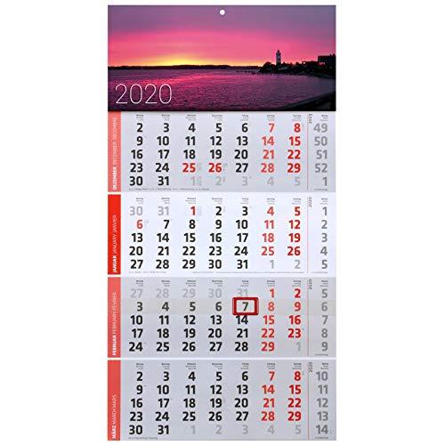 1 Stück Motiv Steg 4 Monats Wandkalender 2020 Kalender Officekalender Bürokalender Wandplaner