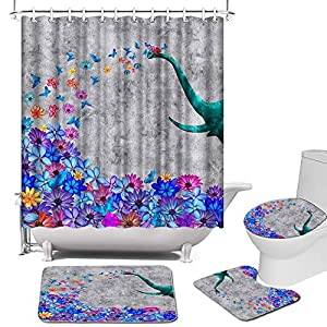 4 Pcs Elephant and Flower Shower Curtain Set with Rugs Teal Blue Gray Floral Shower Curtain Bathroom Decor Set with Non-Slip Rug, Toilet Lid Cover, Bath Mat, Shower Curtain with 12 Hooks