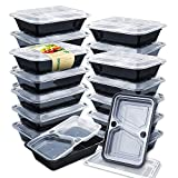 Enther 36oz Meal Prep Containers 20 Pack 3 Compartment with Removable Insert Tray 2-Tier Food...