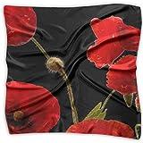 Bandanas multifuncionales de flores rojas de amapola colorido floral abstracto, unisex pañuelo de bolsillo de seda cuadrado pañuelo para la diadema, envoltura, cobertura protectora de 24 x 24 pulgadas