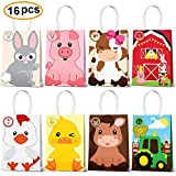 Farm Animal Party Favor Bags,Barnyard Birthday Gift Treat Goody Bags For Farm Animal Party Supplies Pack of 16