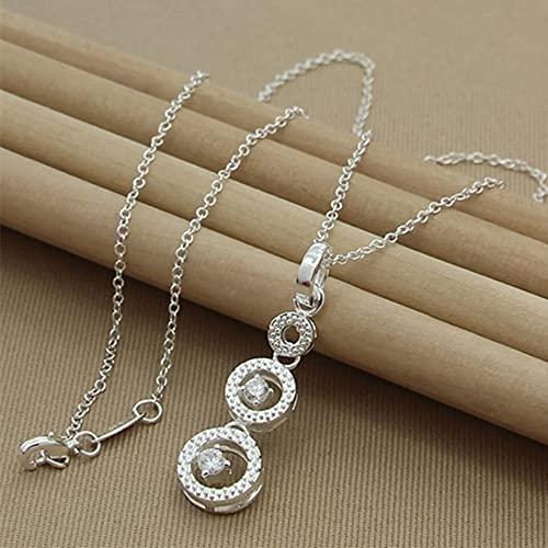 DOOLY Collar con Colgantes de circonita AAA de Tres círculos Redondos de Plata de Ley 925 para Mujer, Regalos de joyería de Compromiso de Boda