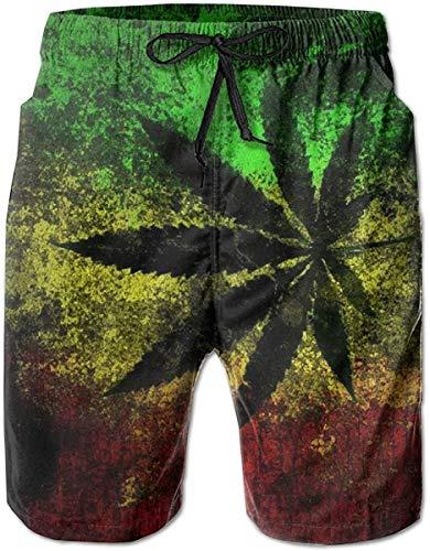 EU Jamaica Flag Leaves Herren Beachwear Sommerferien Badehose Quick Dry L.
