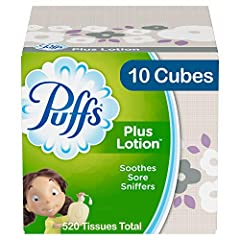 Pack includes 10 Cubes (52 Tissues per Cube) of Puffs Plus Lotion Facial Tissues America's number 1 selling Lotion Tissue Puffs softest, most cushiony tissue, with a touch of lotion, to help protect your nose Puffs Plus Lotion helps soothe irritated ...