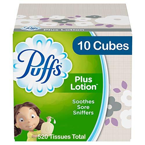 Puffs Plus Lotion Pañuelos faciales, 10 cubos, 52 pañuelos por caja (520 pañuelos en total)