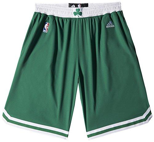 adidas Woven NBA Team Short Pantalón Corto, Hombre, Verde/Blanco, 2XS