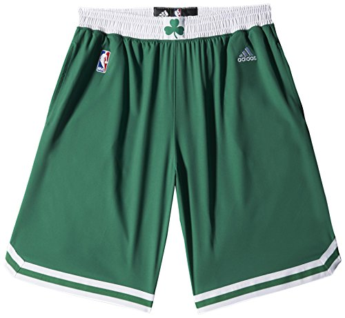 adidas Woven NBA Team Short da Uomo, Verde/Bianco (NBA Boston Celtics 5 3He), 2XS