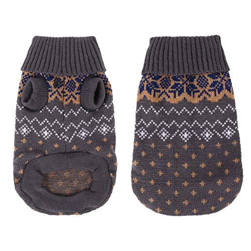 Heyu-Lotus Hundepullover Winter Warmer Hund Katzenpullover Kleidung hundemantel Welpenpullover Haustier Katze Pullover für kleinen großen Hund Katze(L-Grau)