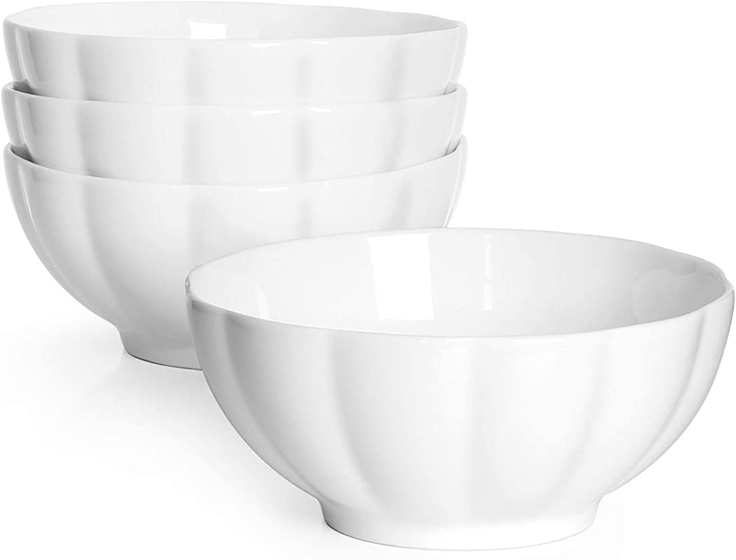 DOWAN 24 Ounce Porcelain Fluted Cereal Soup Bowls Set Of 4 White