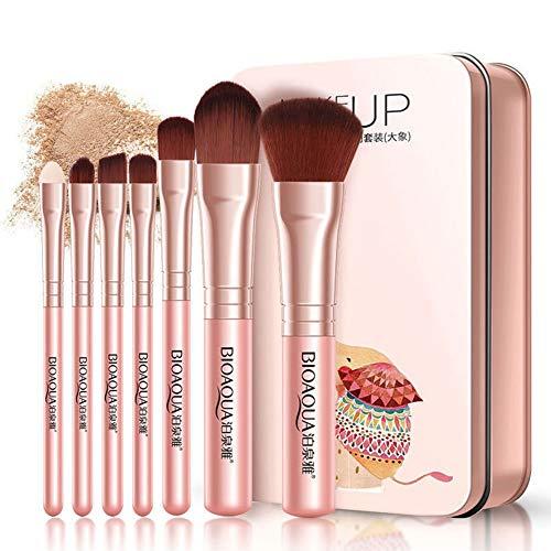 Ogquaton 7pcs pinceaux de maquillage ensemble lèvre pour les yeux visage fondation douce fibre cheveux outil cosmétique durable et utile