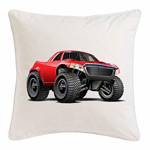 Reifen-Markt Kissenbezug 40x40cm Off Road 4X4 Monster Truck 4×4 GELÄNDEWAGEN Buggy Autocross STOCKCAR RENNEN aus Mikrofaser in Weiß
