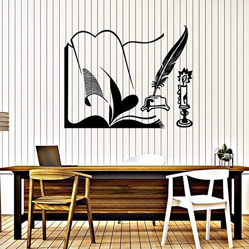 HFDHFH Calcomanía Manuscrita Libro de Escritura Vela Pluma Cepillo de Escritura Aprendizaje hogar decoración de Interiores Vinilo Pegatinas de Pared Aula Sala de Lectura Mural
