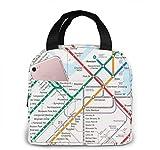 Boston Metro Map Tragbare Isolierte Lunchtasche Große Kapazität Mittagessen Kühltasche Tragetasche für Arbeit Schule Reisen Lunchbox mit Fronttasche