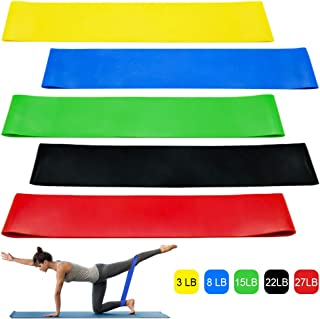 WILNARA Fitness Resistance Loop Band 5 Pack Set for Beginner,Natural Latex Exercise Ring for Lady Body Sculpt, Yoga, Fitne...