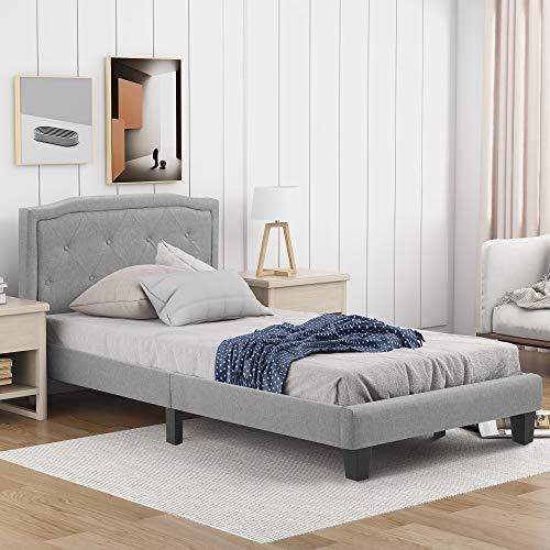 Cama tapizada individual 90 x 200 cm con somier de listones de almacenamiento, cama acolchada con botones decorativos, cabecero para dormitorio, adultos y adolescentes [colchón no incluido] (A)