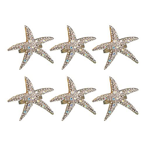 Moorfowl Napkin Rings Starfish Rhinestone Ocean Napkin Holders for Wedding Party Beach Theme Dining Table Decor, 6 PCS